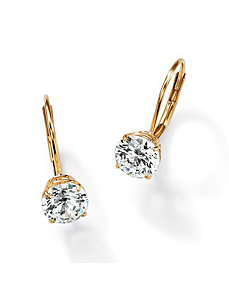 Roundcubic zirconia Lever-Back Earrings by PalmBeach Jewelry