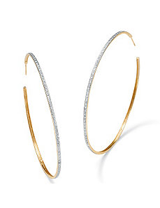 Diamond Accent Hoop Earrings by PalmBeach Jewelry