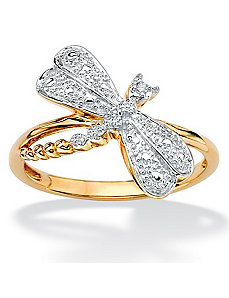 Diamond Accent Dragonfly Ring by PalmBeach Jewelry