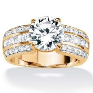Round & Princess-Cutcubic zirconia Ring