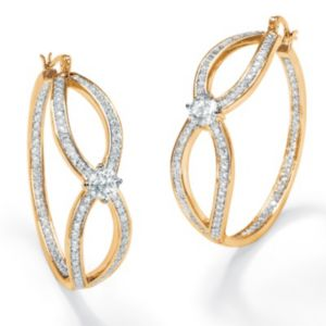 Cubic Zirconia Inside-Out Hoop Pierced Earrings