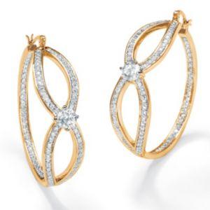 Cubic Zirconia Inside-Out Hoop Pierced Earrings