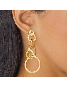 Cubic Zirconia Hammered-Style Pierced Earrings by PalmBeach Jewelry