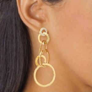 Cubic Zirconia Hammered-Style Pierced Earrings