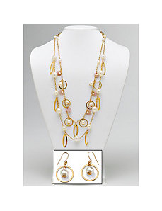 Simulated Pearl Beaded Jewelry Set by PalmBeach Jewelry