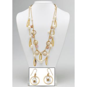 Simulated Pearl Beaded Jewelry Set