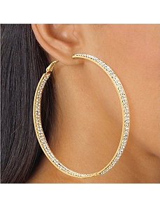 Crystal Inside-Out Hoop Earrings by PalmBeach Jewelry