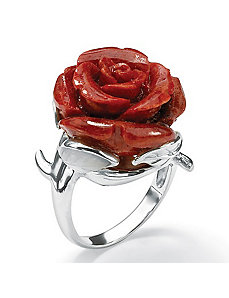 Flower-Shaped Coral Ring by PalmBeach Jewelry