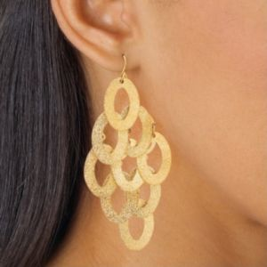 Textured Oval Drop Pierced Earrings