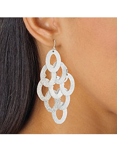 Textured Oval Drop Pierced Earrings by PalmBeach Jewelry