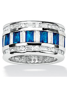 Cubic Zirconia & Blue Glass Ring by PalmBeach Jewelry