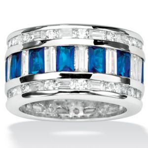 Cubic Zirconia & Blue Glass Ring