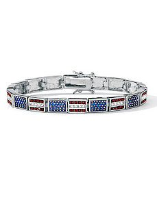 Patriotic Flag Bracelet by PalmBeach Jewelry