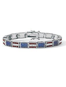 Patriotic Flag Bracelet by PalmBeach Jewelry