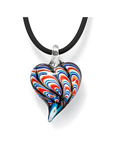 Red, White & Blue Heart Pendant by PalmBeach Jewelry