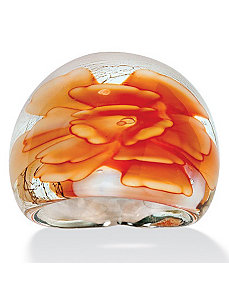 Peach Glass Dome Ring by PalmBeach Jewelry