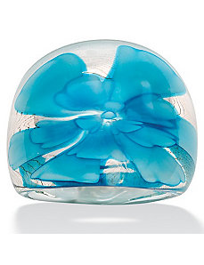 Baby Blue Glass Dome Ring by PalmBeach Jewelry