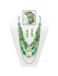 Green Lucite Nugget Jewelry Set by PalmBeach Jewelry