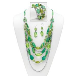 Green Lucite Nugget Jewelry Set