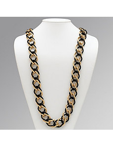 Black & Goldtone Curb-Link Necklace by PalmBeach Jewelry