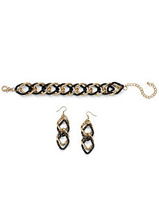 Curb-Link Bracelet & Earring Set by PalmBeach Jewelry