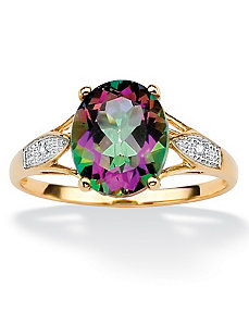 Mystic Topaz/Diamond Accent Ring by PalmBeach Jewelry