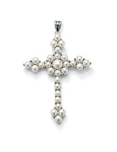 Pearl Cross Pendant by PalmBeach Jewelry