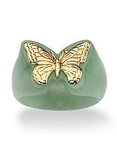 Green Jade Butterfly Ring by PalmBeach Jewelry
