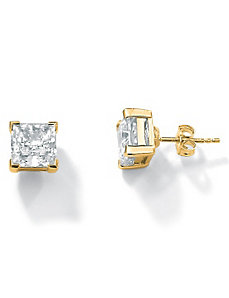 Princess-Cut Cubic Zirconia Pierced Earrings by PalmBeach Jewelry