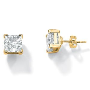 Princess-Cut Cubic Zirconia Pierced Earrings