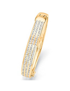 Triple-Row Cubic Zirconia Bangle Bracelet by PalmBeach Jewelry