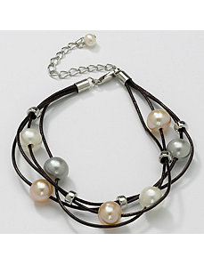 Pearl Multi-Strand Leather Bracelet by PalmBeach Jewelry