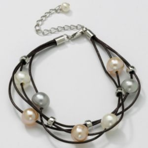 Pearl Multi-Strand Leather Bracelet