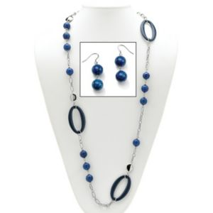 Blue Quartz Geometric Jewelry Set