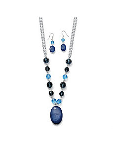 Blue Quartz Jewelry Set by PalmBeach Jewelry