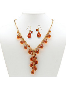 Amber-Colored Glass Jewelry Set by PalmBeach Jewelry
