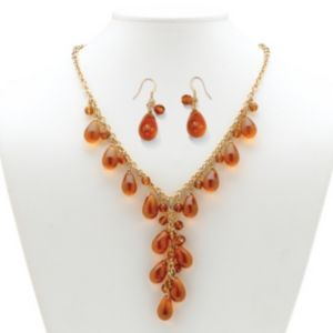 Amber-Colored Glass Jewelry Set