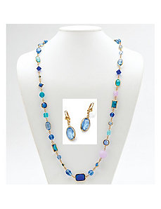 Blue Geometric Glass/Rhinestone Set by PalmBeach Jewelry