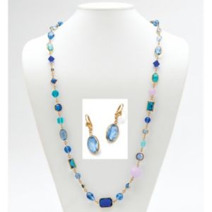 Blue Geometric Glass/Rhinestone Set