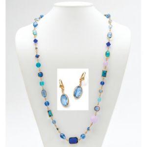 Blue Geometric Glass/Rhinestone Set