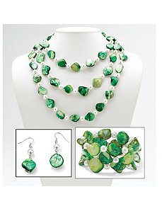 Green She'll/Sim. Pearl Jewelry Set by PalmBeach Jewelry