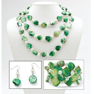 Green She'll/Sim. Pearl Jewelry Set