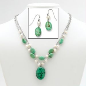 Turquoise/Pearl Jewelry Set