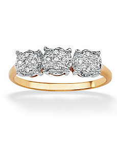 Triple-Cluster Diamond Ring by PalmBeach Jewelry