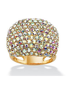 Aurora Borealis Crystal Dome Ring by PalmBeach Jewelry