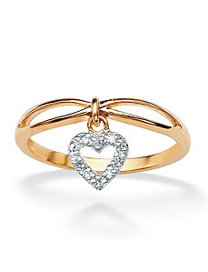 Diamond Accent Heart Charm Ring by PalmBeach Jewelry