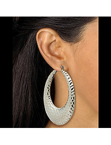 Hammered-Style Hoop Earrings by PalmBeach Jewelry