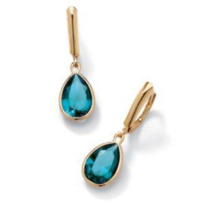 Birthstone Drop Pierced Earrings