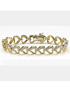 Diamond Accent Heart-Link Bracelet by PalmBeach Jewelry