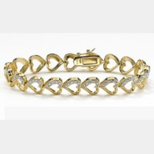 Diamond Accent Heart-Link Bracelet
